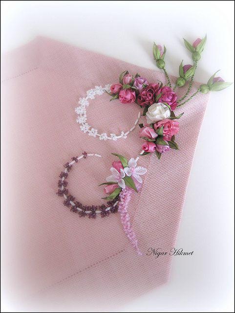runner by nigarhikmet, via Flickr, ribbon flowers, embroidery
