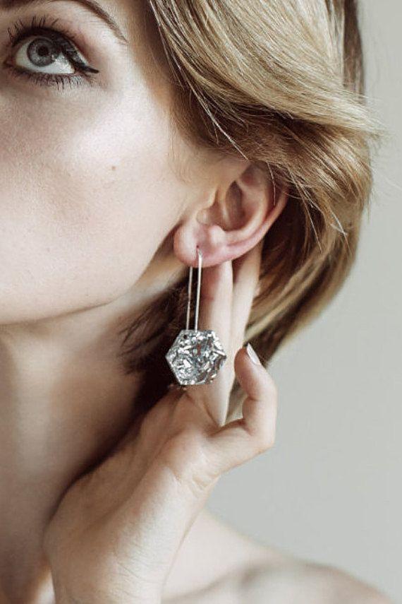 Hexie Glitter Drops - Silver Lush - Each To Own - Geometric Laser Cut Earrings on Etsy, $37.00 AUD