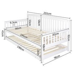 Wooden Sofa Day Bed Frame w/ Foldable Trundle White | Buy 30 - 50% Sale