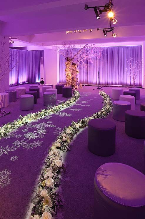 Photographer: Colin Miller; Fabulous indoor purple winter wedding ceremony;