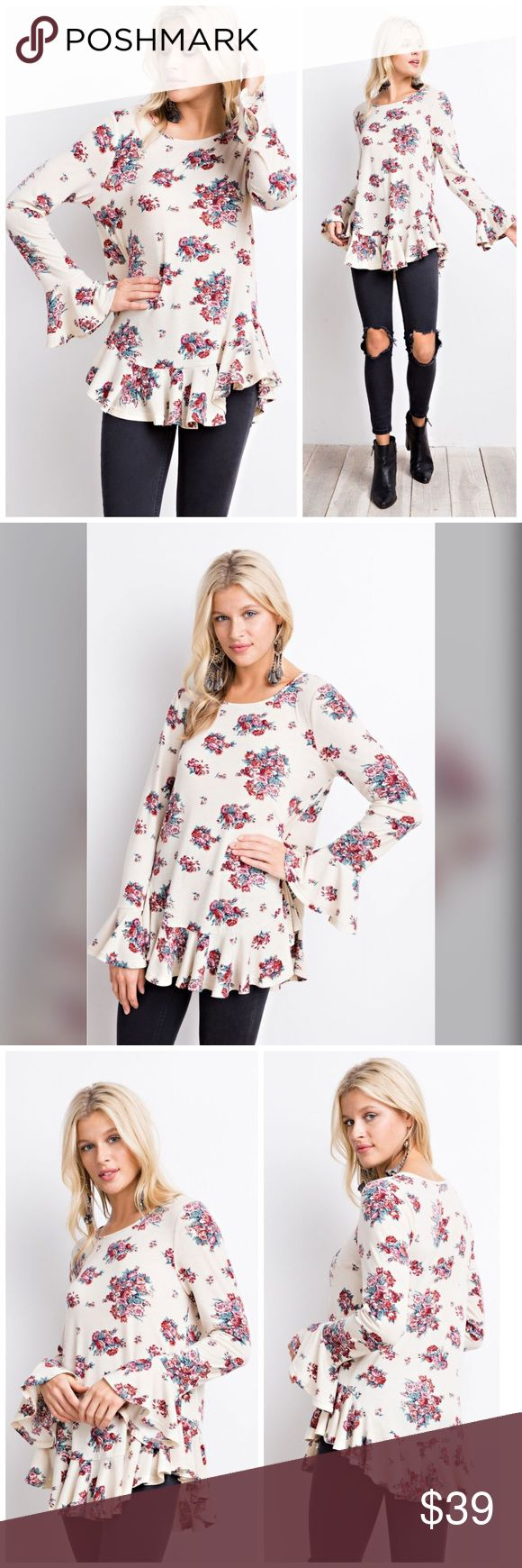 PREORDER New For Spring! Ruffled Floral Tunic! PRETTY FLORAL LONG SLEEVE TOP FEATURING A FEMME RUFFLE DETAIL, PRINTED RAYON SPAN RUFFLED BOTTOM TUNIC Tops Tunics