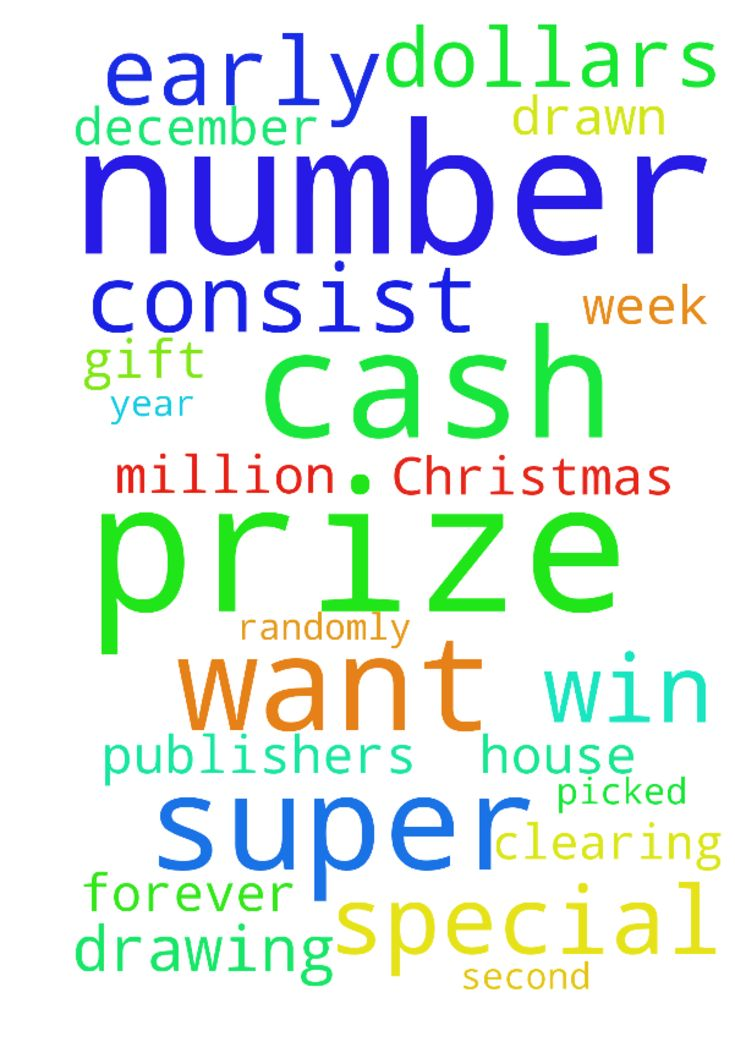 winning publishers clearing house as a special early Christmas gift. -  the special early look drawing is on this Monday December 19th 2016 the drawing consist of a super prize number that is picked randomly from a prize number generator and my super prize number changes every time I have entered so I just want My super prize number to Match the prize number thats drawn from the machine so I can win publishers clearing house on December 23rd 2016 as a special early Christmas gift from god…