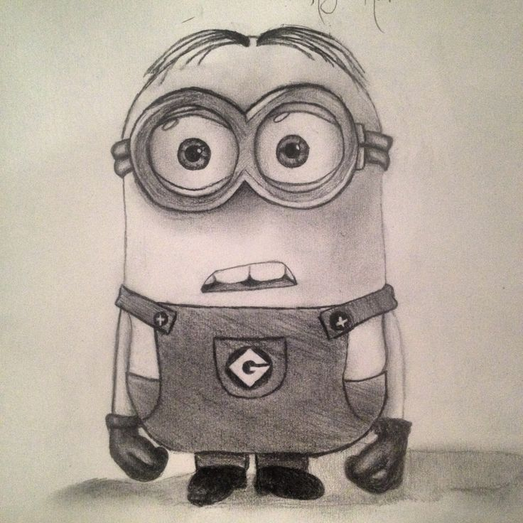 How to Draw Bob From Minions, Step by Step, Characters ...  Easy Minion Pencil Drawings