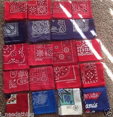 20 vintage bandana lot elephants wrangler fast color tuside tower appear new  unused including the wrangler the floral the tuside red ones.