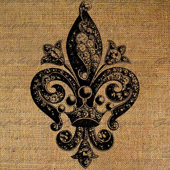 Fleur de Lis Ornate Intricate Design French Jewels Crown Digital Image Download Sheet Transfer To Pillows Tote Tea Towels Burlap No. 2552