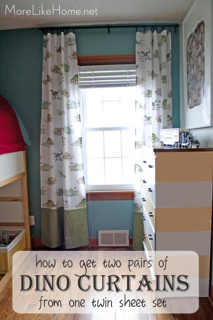 Tutorial shows how to get two pairs of curtains from one twin sheet set. Dinosaur curtains are perfect for a boy room!
