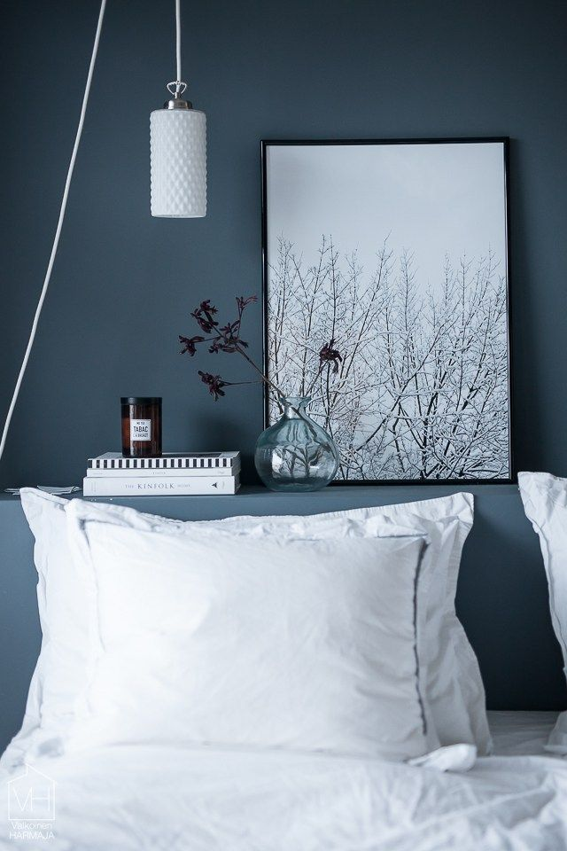 Blue grey and white bedroom