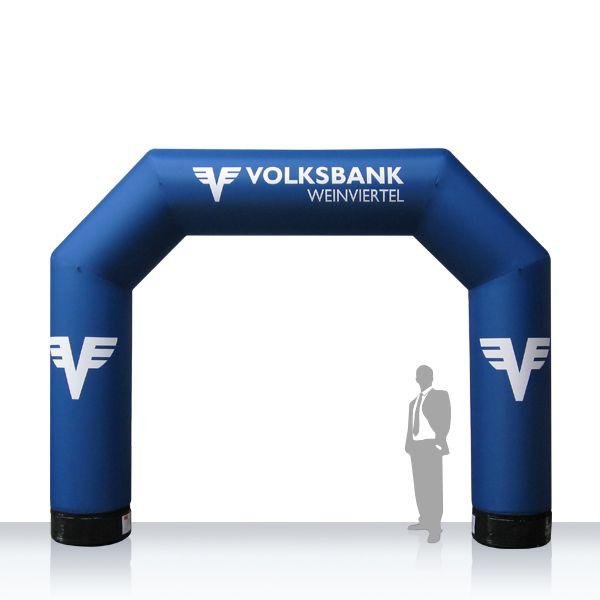 """Bogen Volksbank - Bogen MAX Volksbank - aufblasbares MAX Sockelsystem mit austauschbaren """"Aufsätzen"""" ... Anfertigung nach Kundenwunsch ... mit integriertem Licht und Gebläse."""