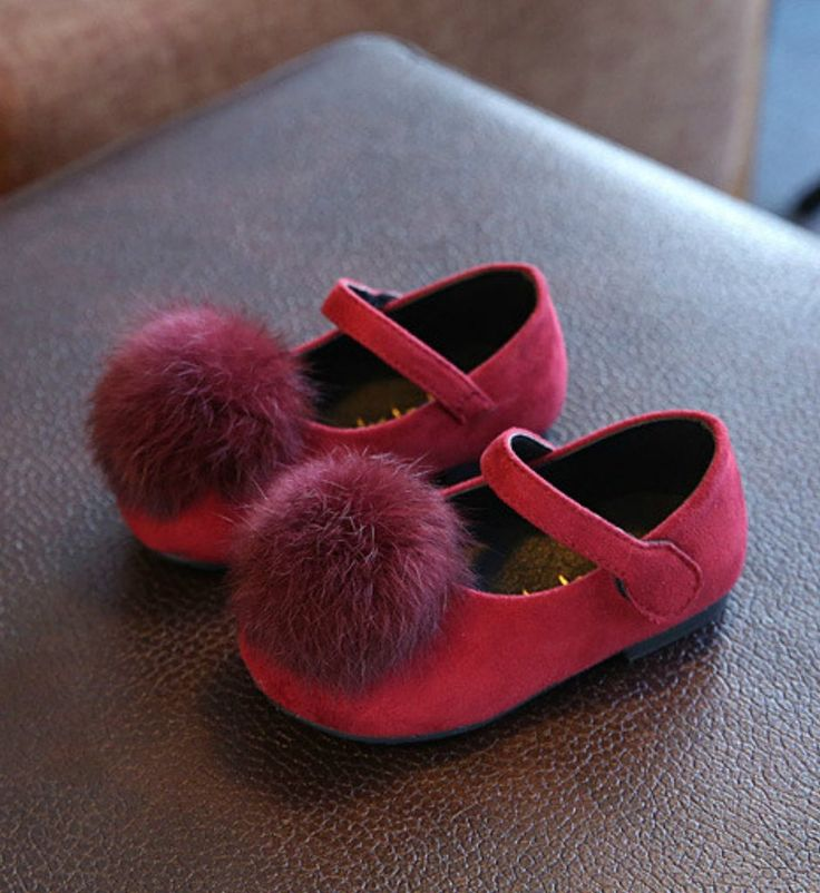 Toddler Shoes-Super Soft & Comfortable Flat Shoes! Red Feather Pom Pom Litte Girl Shoes Material: Suede, feather & rubber Perfect for weddings, birthday, communion, baptism, christmas or baby shower gift Please choose  your little girl size by sole length
