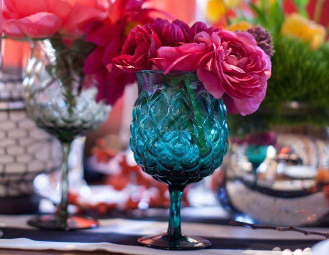 images of jewel tone decor | glassware, jewel tone, reception decor, flowers | Liza & Al