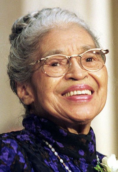 "Rosa Parks  - (1913–2005) African-American civil rights activist, whom the U.S. Congress called ""the first lady of civil rights"", & ""mother of the freedom movement"". In 1955, in Montgomery, Alabama, Parks refused to obey bus driver's order to give up her seat to make room for a white passenger. Her civil disobedience sparked the Montgomery Bus Boycott."
