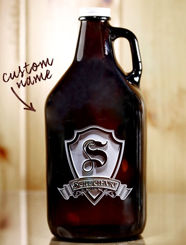 Show your love of beer with this custom engraved growler. The amber glass growler holds 64 oz of the good stuff, and with 3D style engraving, it's likely to be the talk of the town. Better hold onto it tight.