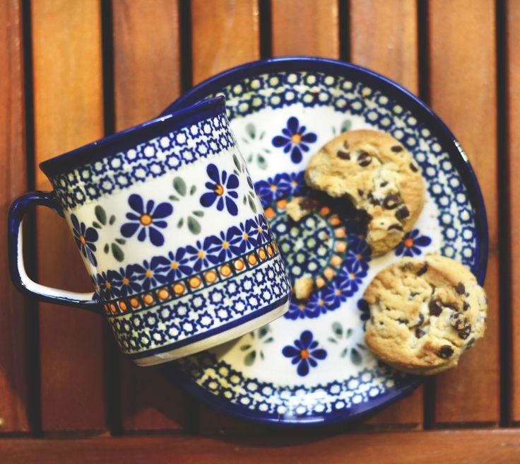 Ceramic mug for tea or coffee and dessert plate.