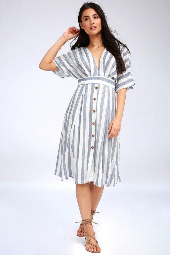 2c1c38e6e3fd Pier of Influence Blue and White Striped Midi Dress 2