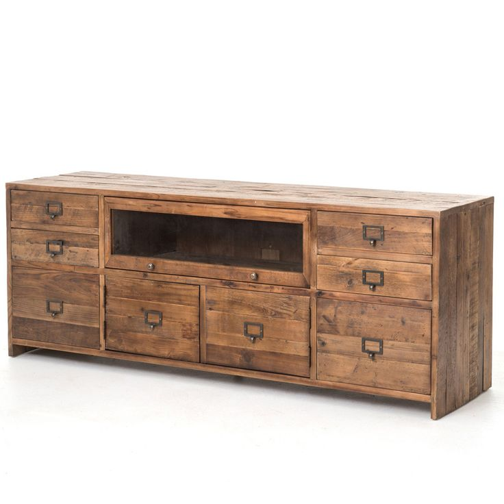 The Hughes Media Console draws inspiration from early French and American architecture. Combining modern functionality with reclaimed and bleached pine wood, the Hughes balances a found appeal that is