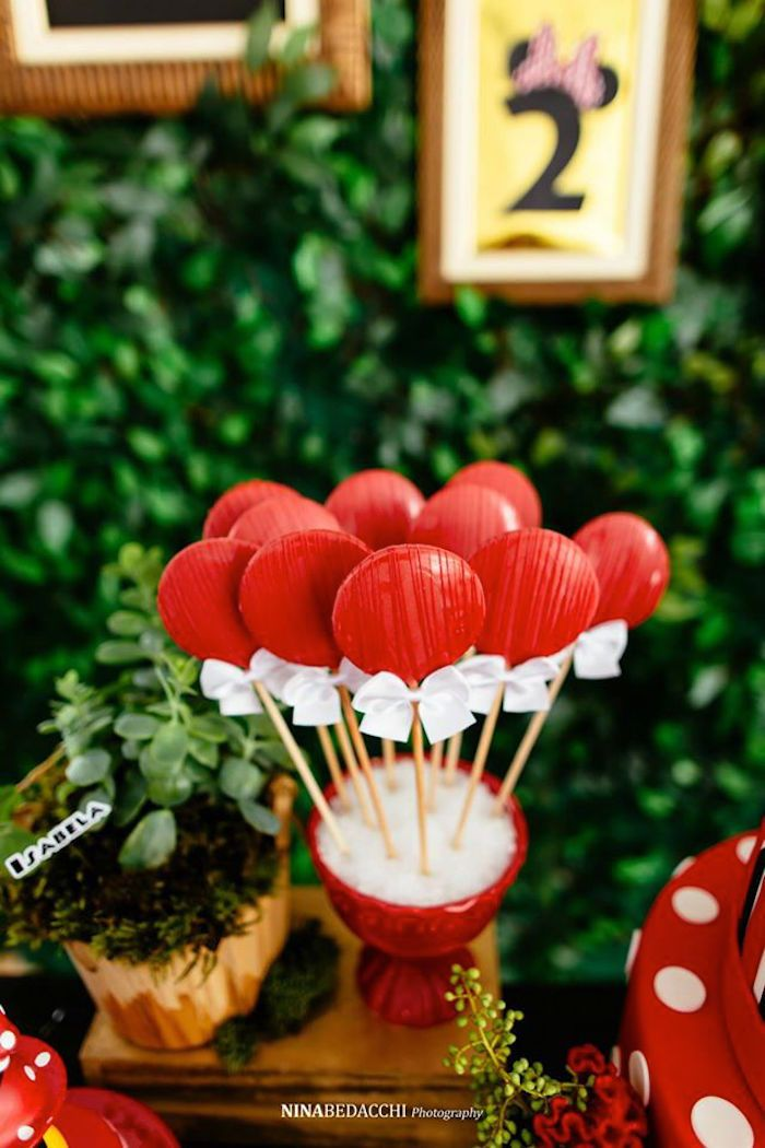 Red Lollipops from a Minnie Mouse Birthday Party via Kara's Party Ideas | KarasPartyIdeas.com (18)