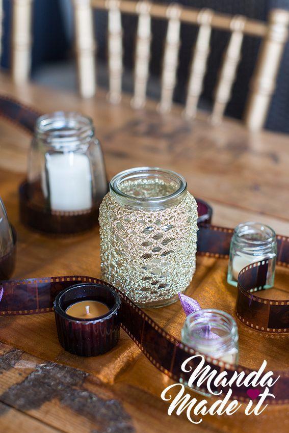 DIY crochet jar cover for wedding table