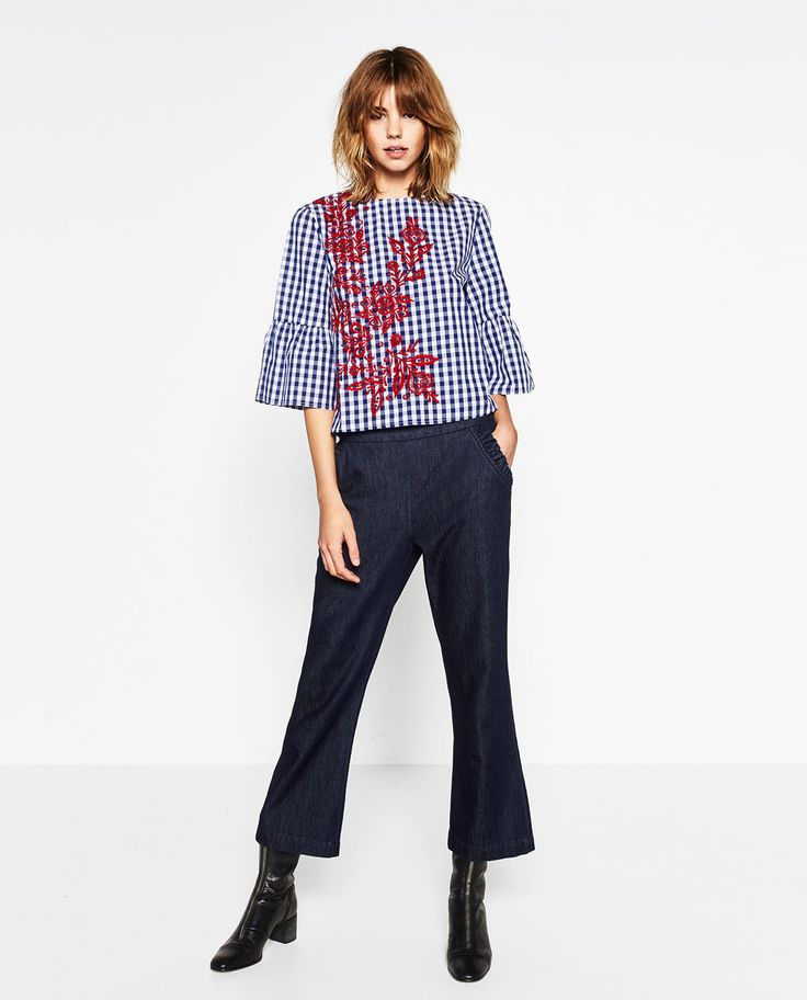 EMBROIDERED CHECKED TOP-View all-TOPS-WOMAN | ZARA United States