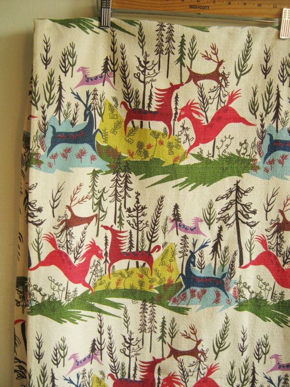 The best barkcloth ever, 1950s, with abstract deer and horses, bounding through a forest. DEER AND HORSES. 44.5 wide, 77 tall. colors: chartreuse, olive