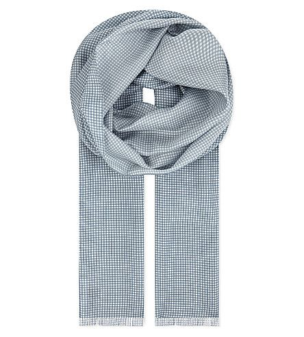 HARDY AMIES Minin Gingham Silk Scarf. #hardyamies #scarves