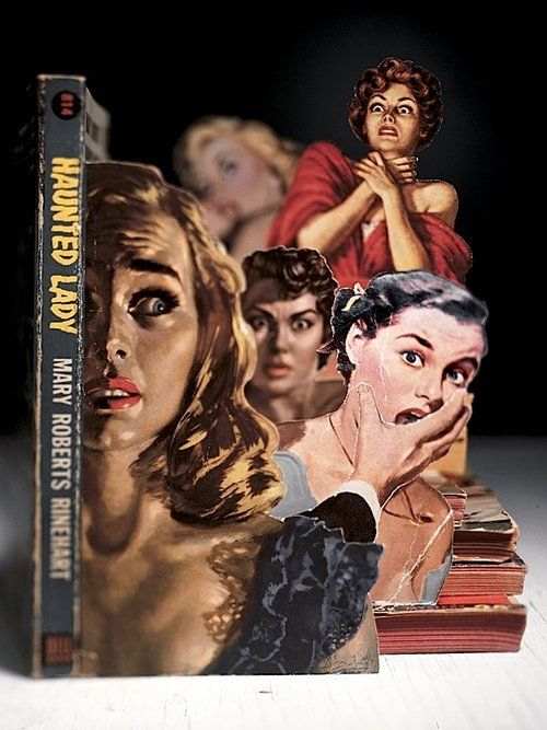 Photographer Thomas Allen constructs dioramas using figures cut from the covers of old pulp paperbacks. So inventive!: Books Covers, Pulp Art, Books Art, Thomasallen, Thomas Allen, Fiction Books, Allen Books, Pulp Fiction, Haunted Lady