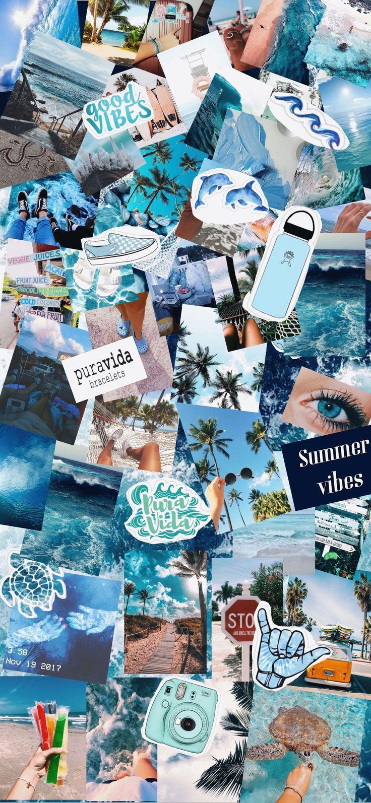 Iphone Æstetisk Pastel startskærmbillede Collage Baggrund ...