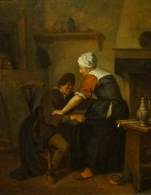"""""""Interior with Figures"""" by Jan Steen. c1650, oil on panel. In the collection of The Birmingham (AL) Museum of Art."""