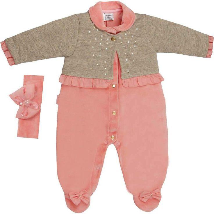Macacão Feminino em Plush com Faixa Rosa - Sonho Mágico :: 764 Kids   Roupa bebê e infantil