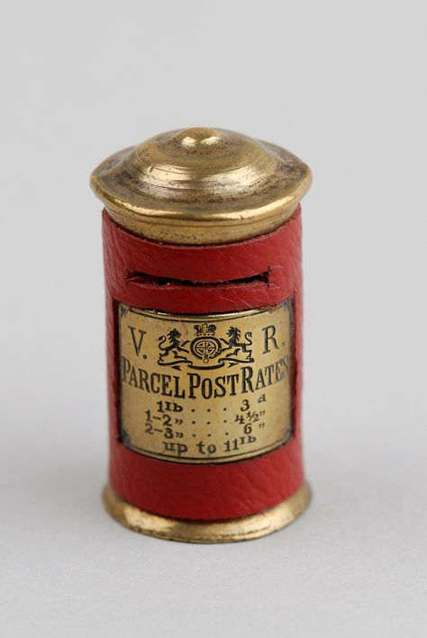Philatalist? Find all sorts of antique and vintage collectables at the Vaults such as this novelty Vesta case made of brass & red leather in the form of a Victorian postal box, 1890 (Gideon Cohen @ silvervaultslondon.com)