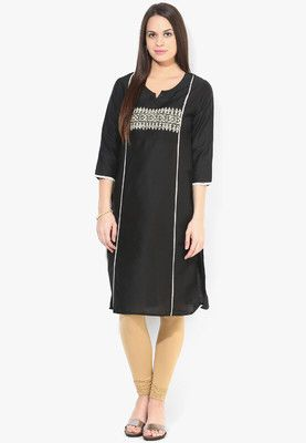 Black Solid Kurta Stand out in the crowd wearing this black coloured kurta from the house of Melange. Made of 100% polyester, this kurta will keep you comfortable and sweat free. Featuring regular fit, this printed kurta will be a fantastic addition to your wardrobe. http://jbo.ng/yHZjckf