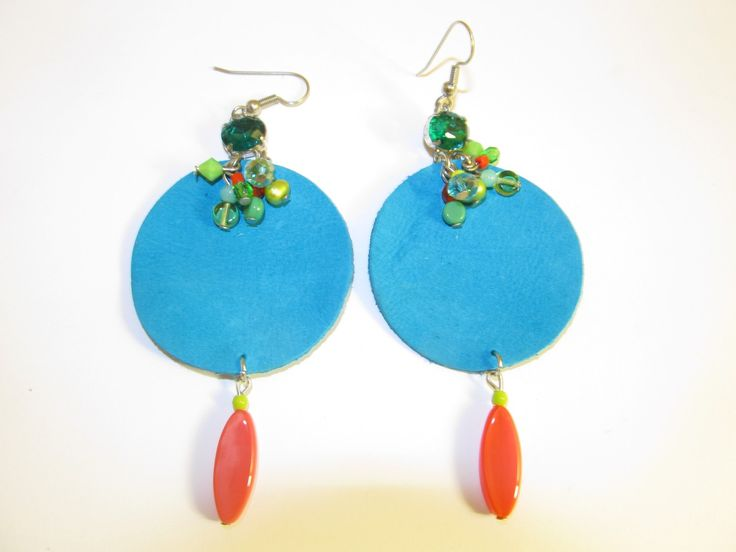Handmade leather earrings (1 pair)  Made with turquoise leather, crystals, semiprecious stones and glass beads.