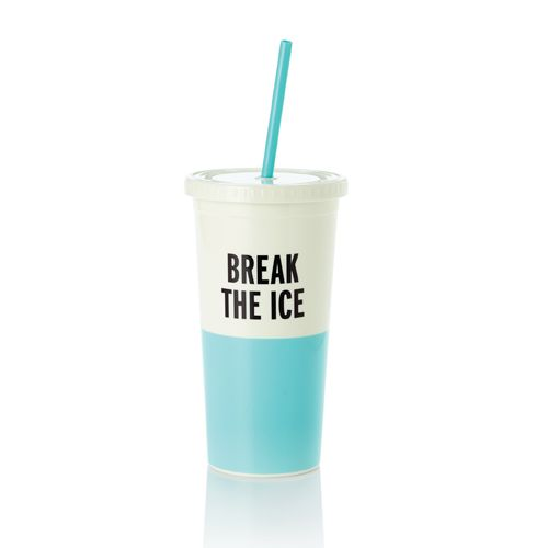A punning, color-blocked tumbler so stylish, even slurping will look cute! The straw makes it easy to sip on the go, while the faux-disposable top adds a pop homage to movie concessions and fast-food