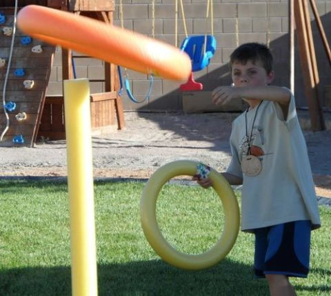 Bring the classic carnival game to your backyard with this pool-noodle ring toss! It's easy to make and great for people of all ages. Get the tutorial at The Joys of Boys.