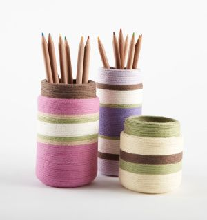 Recycle jars into stylish vases, pencil holders, and more—simply by wrapping yarn.