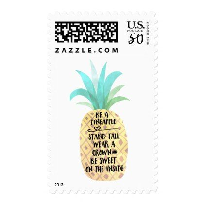 Be A Pineapple Quote Custom Postage Stamp - fun gifts funny diy customize personal
