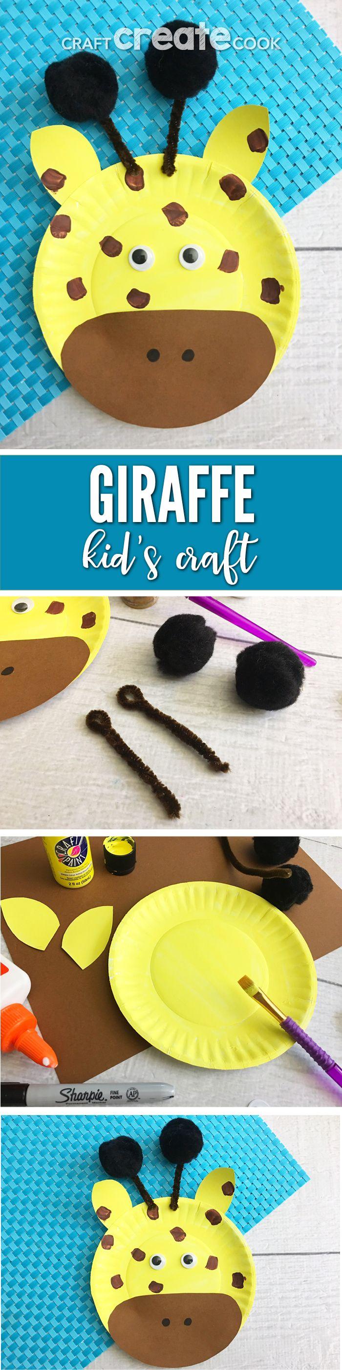 April the Giraffe Inspired Paper Plate Craft for Kids! #AprilTheGiraffe #KidsCrafts via @CraftCreatCook1