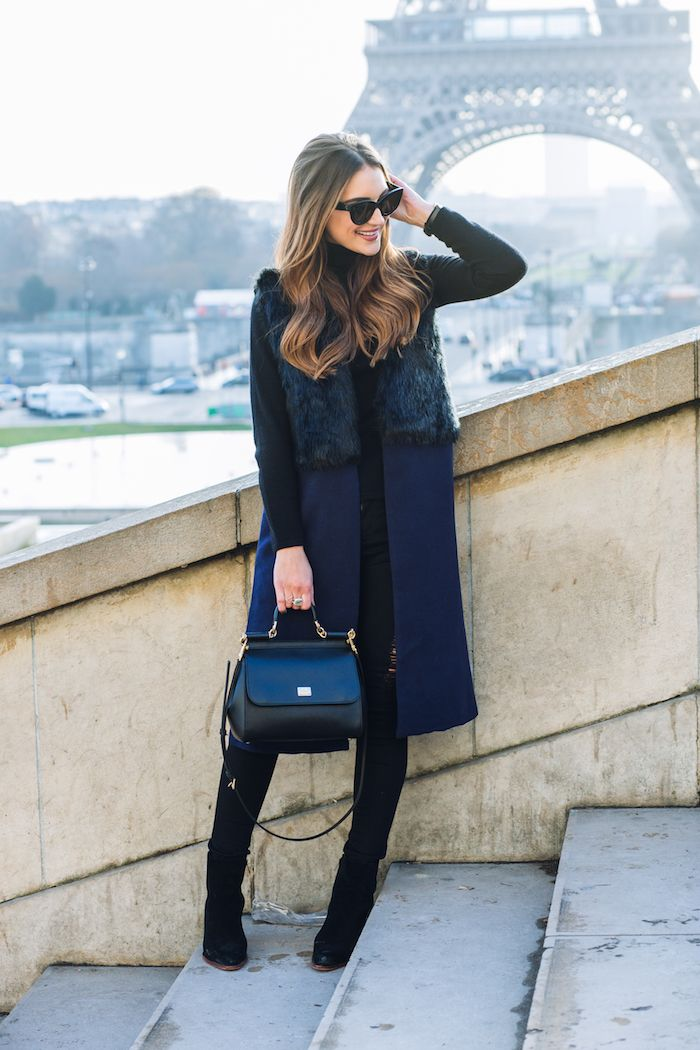 Pairing navy and black together and throwing out the old rule that they shouldn't be mixed. I love styling the combo together for a chic and crisp look!