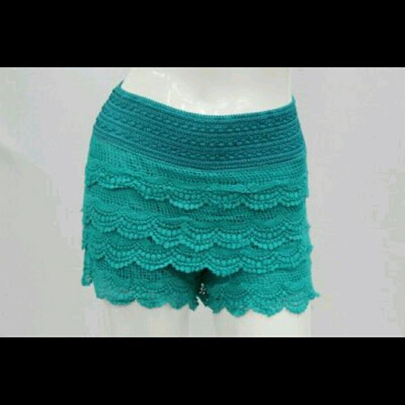 Green lace tier shorts. New! Green lace tier shorts. New! Sizes S-M-L-XL. Junior size. Jean Jacket Clothing  Shorts