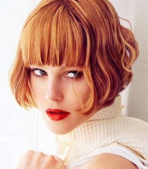 Stylish Short Bob Hairstyle with Blunt Bangs for Thick Hair
