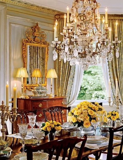 love the mirror, chandelier...beautiful room: Interior Design, Dining Rooms, Decor, Chandeliers, Dinning Room, Beautiful Rooms, Yellow Roses, Manor House