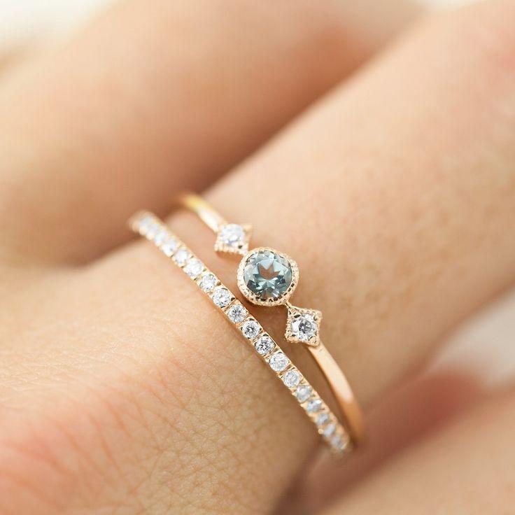 March – Aquamarine Star & Moon Ring