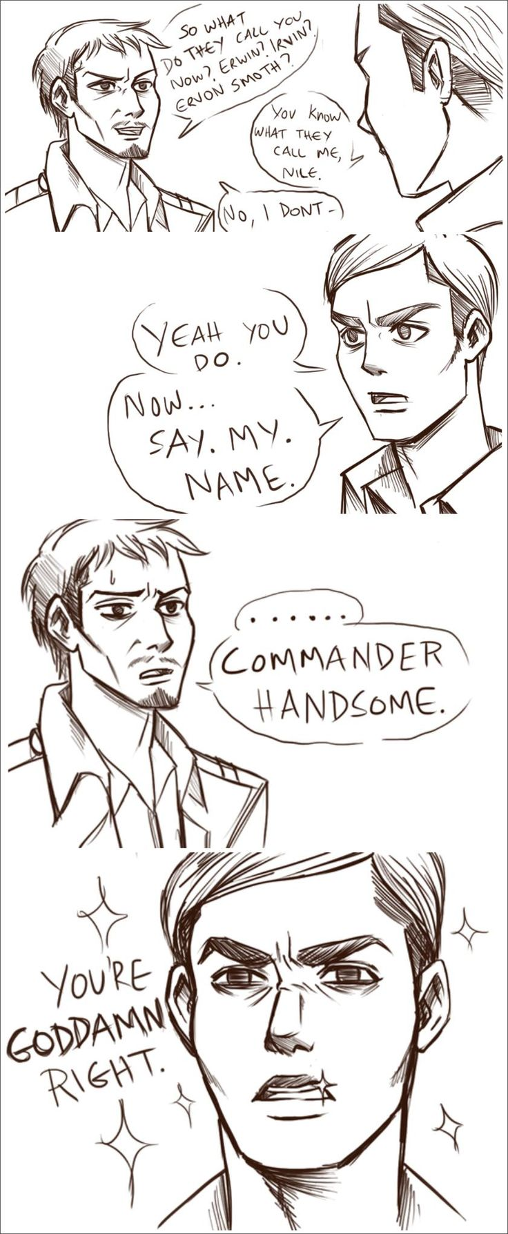 ((Now here we have Commander Handsome/Erwin Smith/Irvin Smith/whatever his name is in his glory.))
