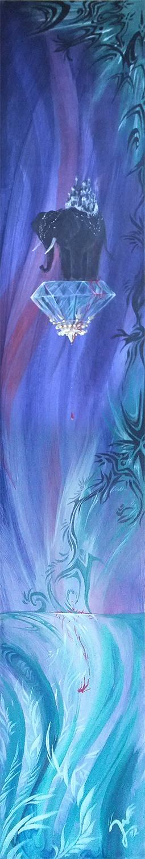 'Der schwarze Elefant' Ein #Acryl Gemälde von Christina Busse www.christinabusse.de | #Karton | 18x120cm | Entstehungsjahr 2012 | #Elefant #Surreal