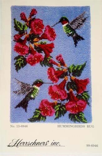 New Herrschners Hummingbirds Latch Hook Rug Kit 40 X 27 In