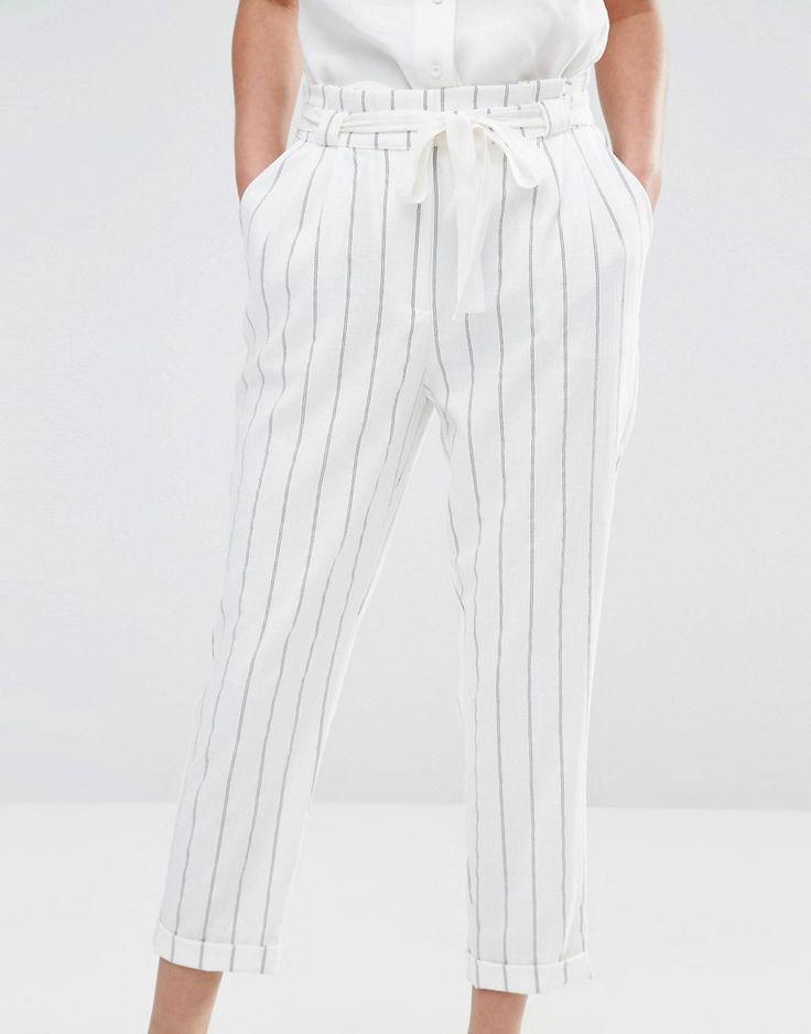 Image 3 - Oasis - Pantalon carotte taille haute à rayures