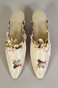 Satin mules with ribbon trim. French, 1900-1920