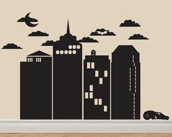 Gotham city skyline mural for Batman cityscape wall mural