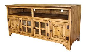 The Gregorio Tv Stand Features Ious Bottom Cabinets Two Gl And Solid Pine