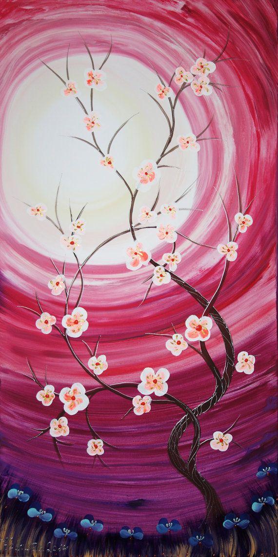 weddings gift painting ROSE SAKURA art sunrise by KsaveraART #rose #pink #purple…
