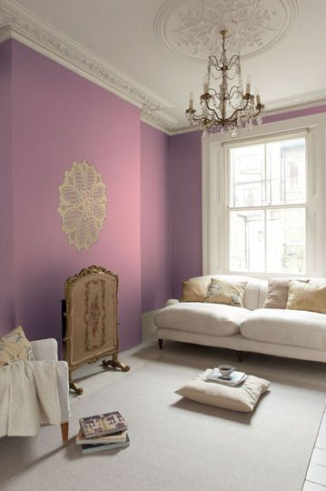 une peinture romantique dans mon salon pastel decor pinterest mauve living rooms and. Black Bedroom Furniture Sets. Home Design Ideas
